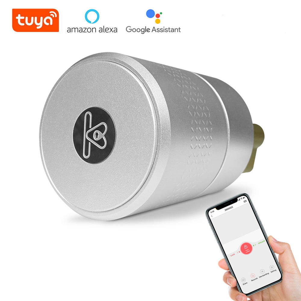 Airbnk Keyless Euro Bluetooth Fingerprint Smart Lock Cylinder with Alexa TTlock Tuya Zigbee WiFi Digital Smart Door Lock