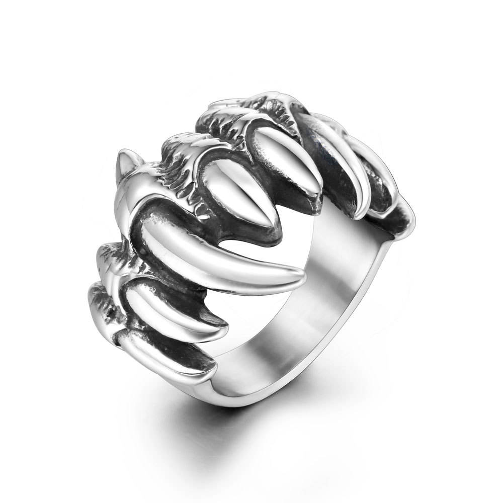 Wholesale Fashion Custom Gothic Dragon Hand Finger Ring Titanium Steel Dragon Claw Rings Punk Fashion Ring For Men