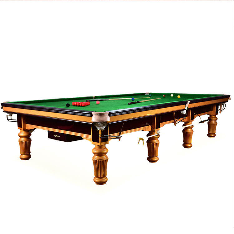 High End Solid Wood Slate Golden Carving Professional Tournament Full Size Snooker Pool Table 12ft Billiard