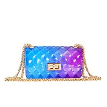 Hot rainbow clutch pvc jelly purse lady mini clear waterproof crossbody bags small channel handbags for women famous brands