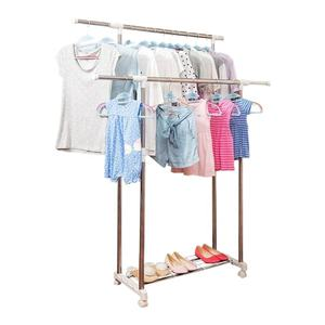 Heavy Duty Collapsible Double Pole Lifting Telescopic Clothes Drying Laundry Rack Displays