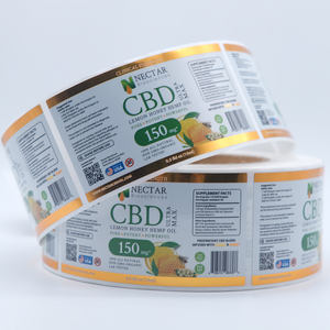 Kustom Dicetak Gloss PET CBD Label Printing
