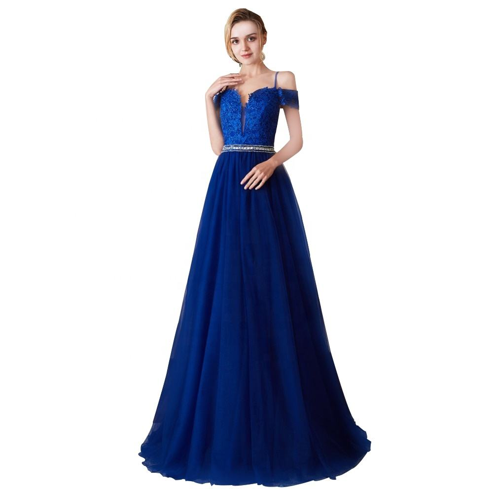 Applique Lace Navy Blue Spaghetti Straps Backless Prom Dresses Tulle Prom Dress