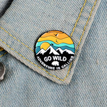 GO WILD Enamel Pin Custom Adventure is Calling Brooches Backpack Clothes Lapel Pin Outdoor Badge Lapel Pins Brooches