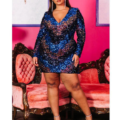 Plus Size Women Clothing Fall Sexy Shiny Mix Color Sequins V Neck High Waist Long Sleeve Above Knee-Length Party Casual Dress