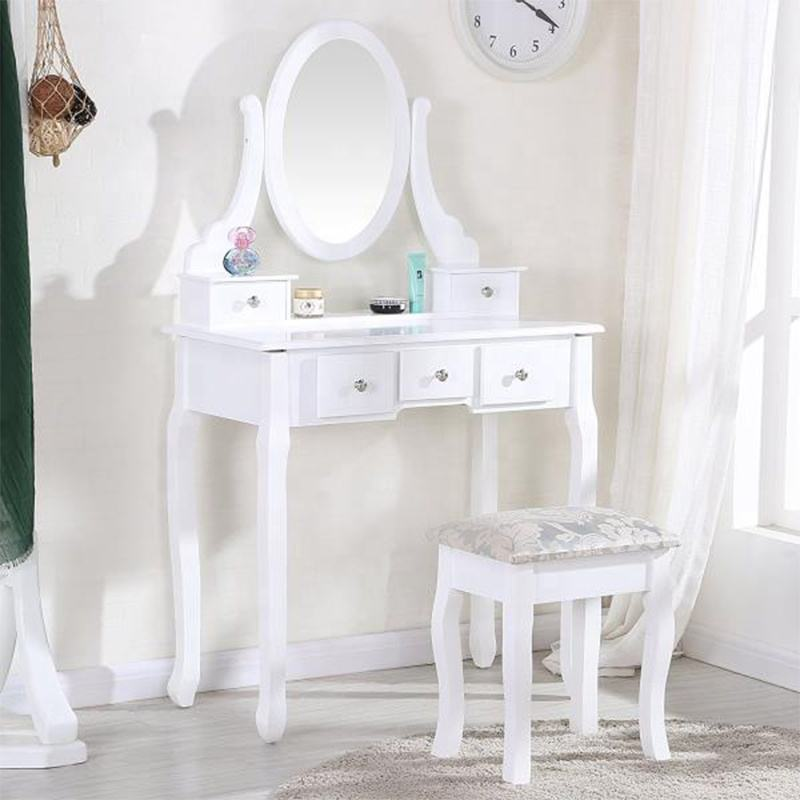 China factories ready to ship luxury mirror dressing table with mirror and stool bedroom furniture
