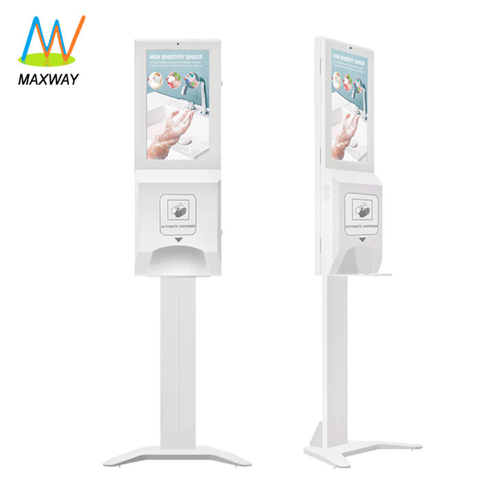 Hand Sanitizer Dispenser With 22 Inch Wifi Lcd Digital Signage Monitor Display Screen Kiosk Floor Stands