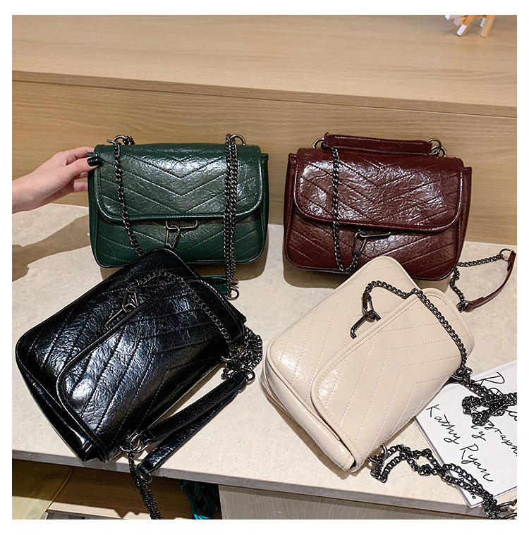 2021 new luxury trendy handbags for women pu leather chain bag purse strap shoulder handbag magnet button