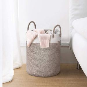 Woven Basket Rope Storage Baskets - Large Cotton Organizer 16*14*14 Inches, Basket for Baby Blanket, Kids Toy laundry Basket