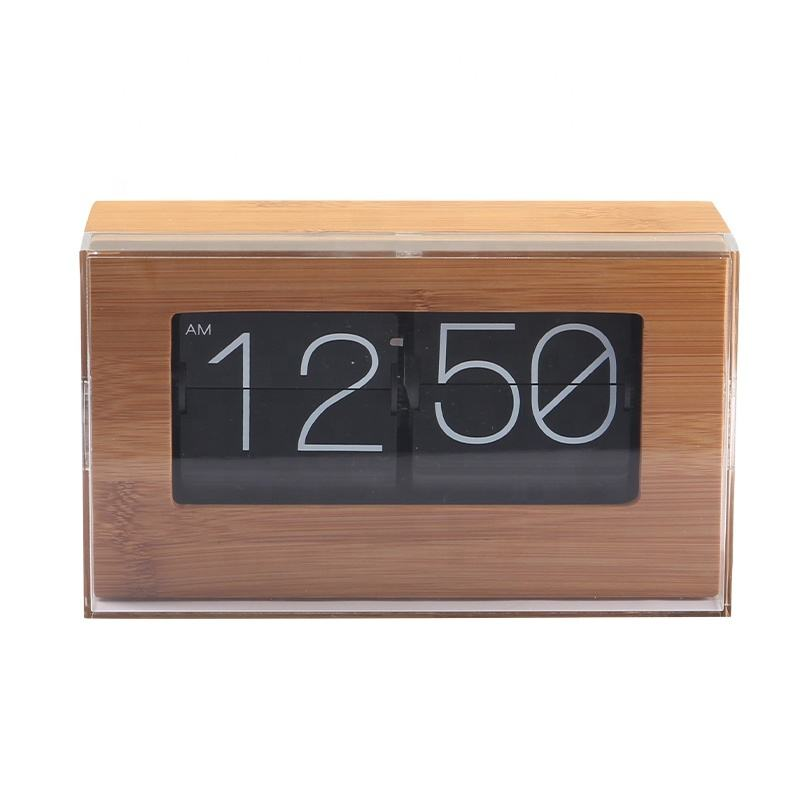 2020 Auto Square Plastic Cover Anti-Dust Metal Stainless Steel Home Decor Flip Down Digital Bamboo Wooden Wood Table Desk Clock