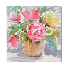 Blossom Modern  oil painting colorful florals in vase hand painted embellished canvas for Home Wall Decoration