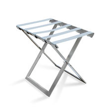 Supplies high quality bedroom metal stainless steel chrome guest room folding white luggage racks hotel
