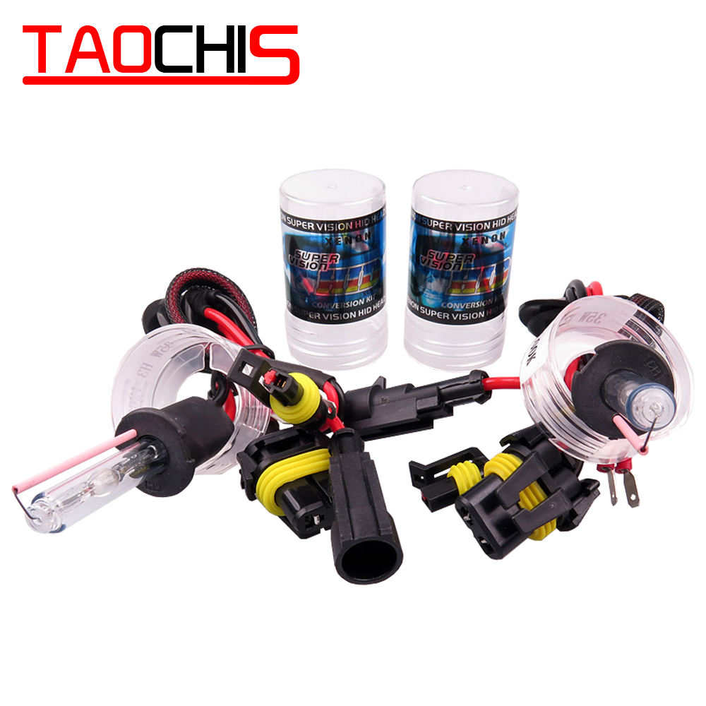 Taochis 12V 55W Car HID Xenon Lamp H1 H3 H7 H8 H9 H11 9005 9006 880 881 Replacement Bulbs Car Head light fog light 6000k 5000k