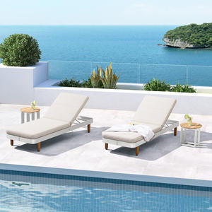 Latest model olefin fabric brushed aluminum reclining sun lounger bed for pool side