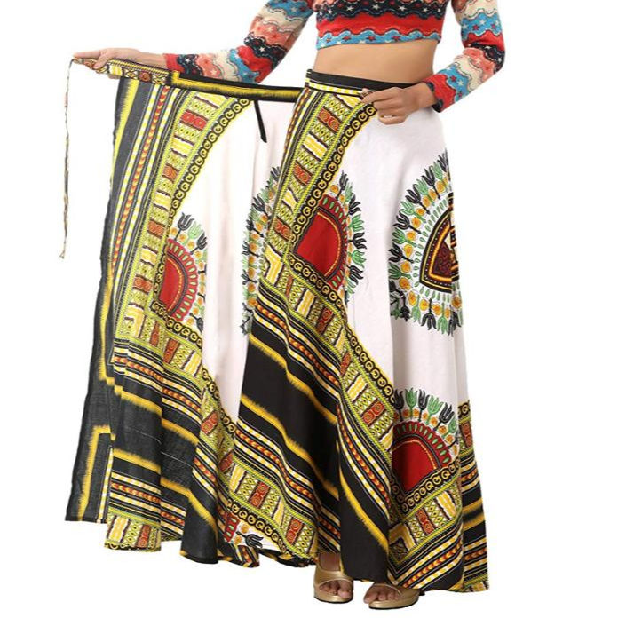 White Floral Printed Wrap Around Cotton Dashiki Women's Long Skirt Regular Fit Wrap Around Skirt for Woman's/Girl's