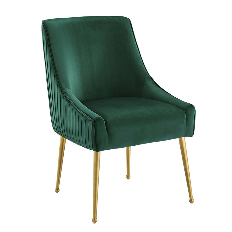 Popular model Luxury designs gold legs velvet chairs modern dining room sets furniture green pink blue grey