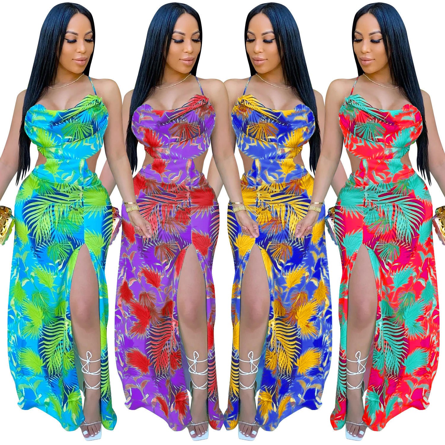 FS0974 split design ladies sexy colorful print halter dress women fsallwin fashion