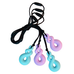 Figure Eight design baby silicone teether food grade silicone teether gum with adjustable rope