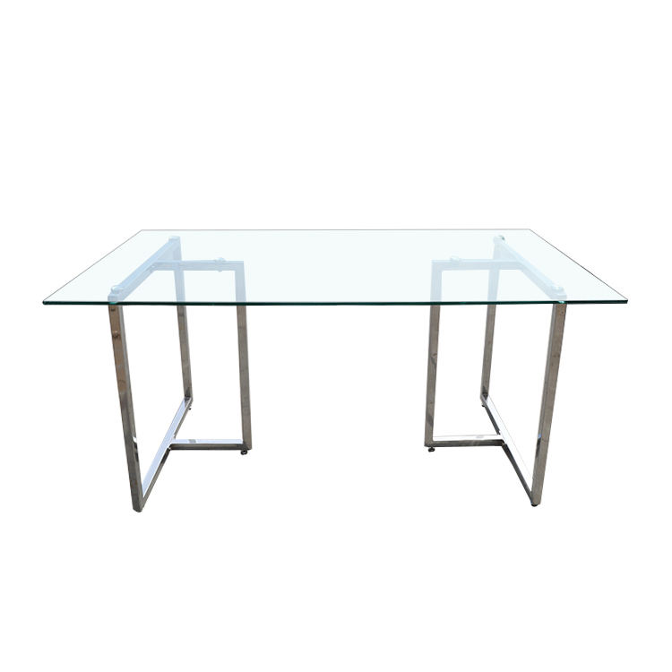 2020 Hot Selling Modern living room Dining tables With Glass top and chrome legs Competitive Price Dining Room Set