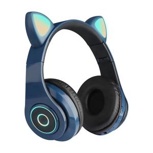 B39-Cat Telinga Over-Ear Headphone Nirkabel Headphone Gigi Biru dengan Led Kucing Telinga Gaming Headset Hi Fi Stereo Bass Earphone