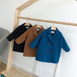 2020 New Autumn Clothes Boys Lapel Woolen Coat Long Sleeve Windbreaker Top