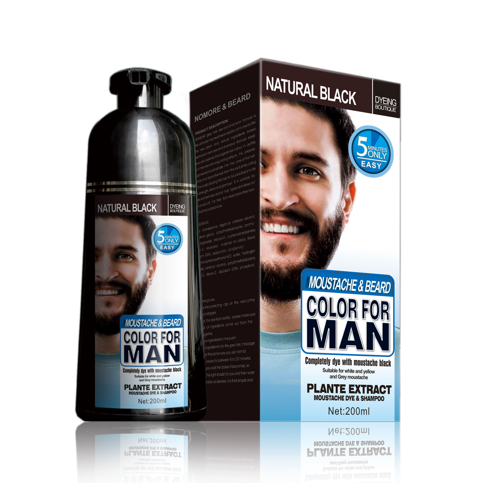 MOKERU black color dye shampoo for beard or hair 5 mins fast color dye shampoo for beard with private label