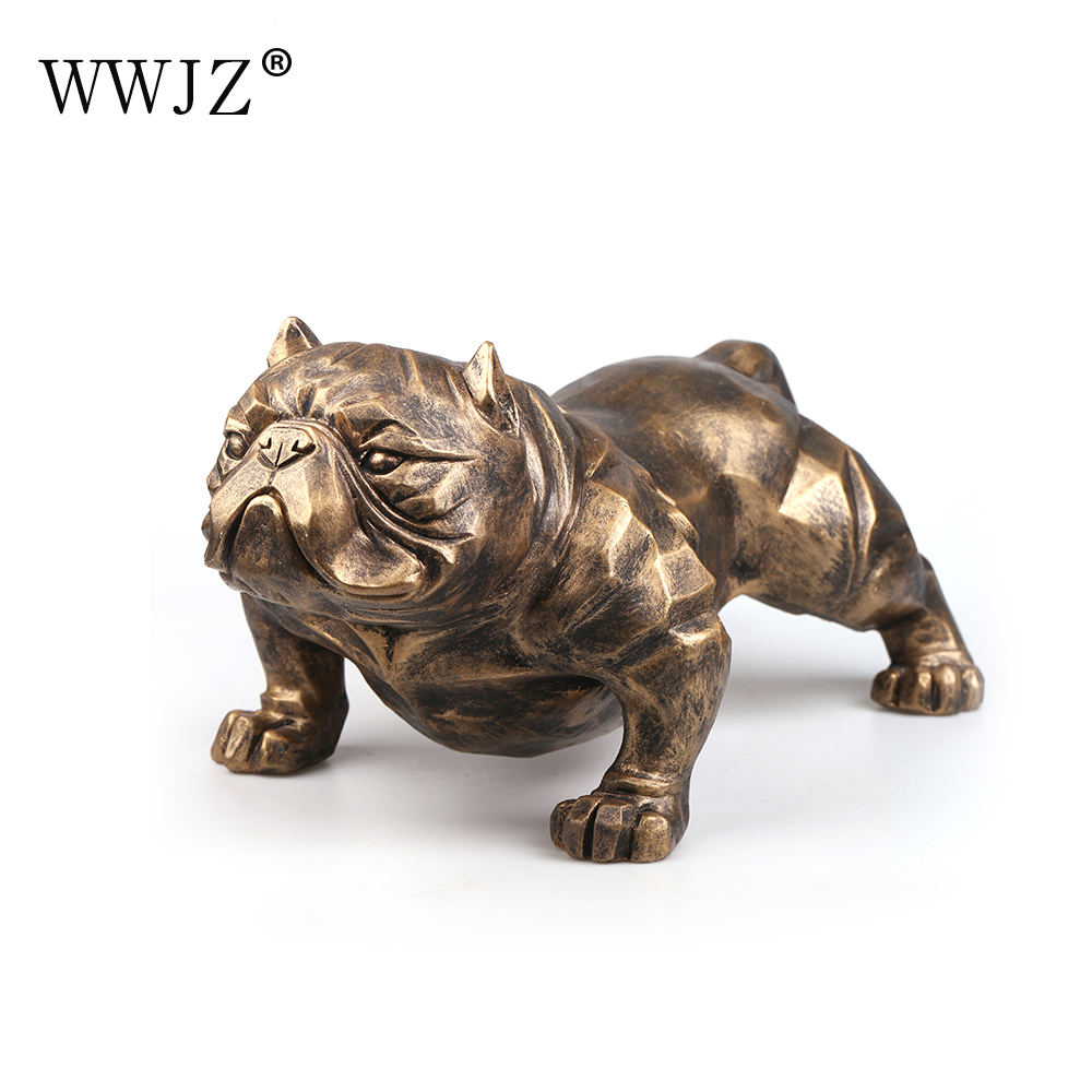 Polyresin Craftwork Gold Color Household Item Bossy American Big Bully Dog Decoration