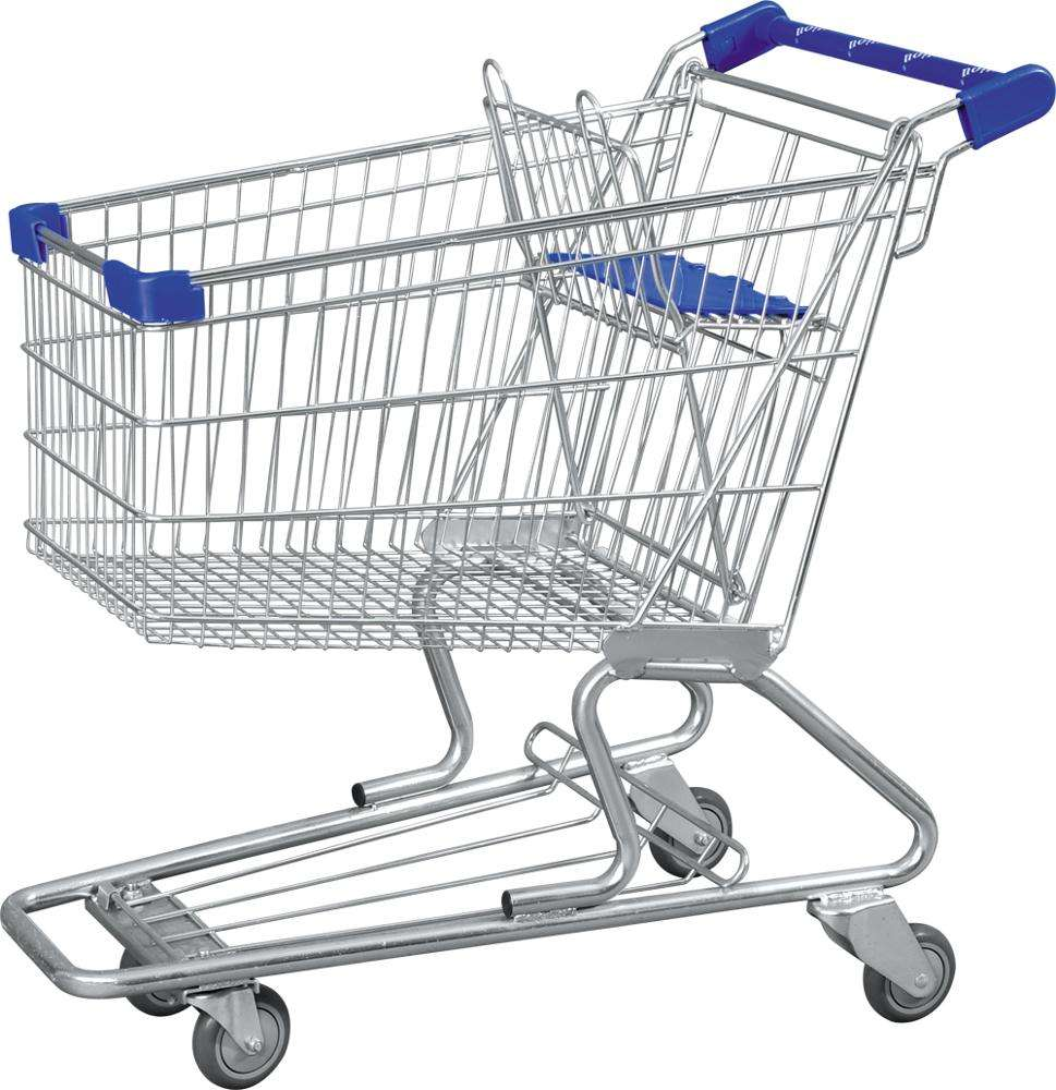 Hot sale supermarket rolling shopping carts,Wholesale carbon steel shopping trolley cart,promotional hand push grocery cart