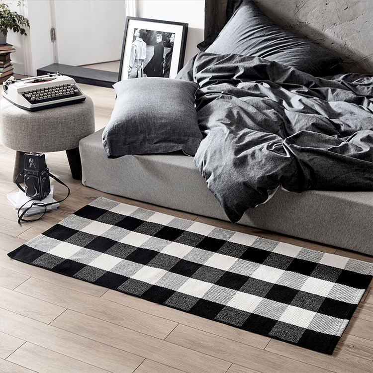 Black And White Plaid Checkered Doormat Welcome Outdoor Carpet