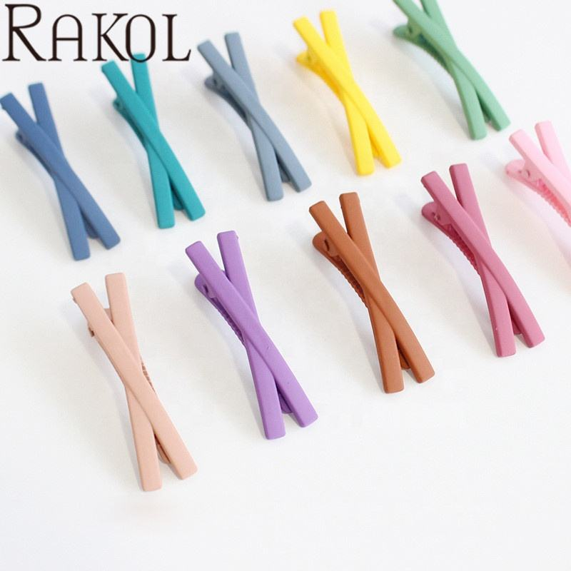 Rakol HC384 Classic Simple Candy X Shape Frosted Summer Girls Kids Hair Clips