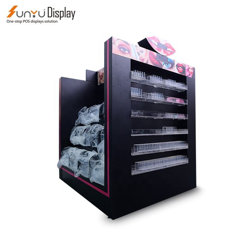 China Floor Metal Cosmetic Showcase Acrylic Makeup Storage Counter Make Up Stand Display Cabinet Cosmetic Display Furniture
