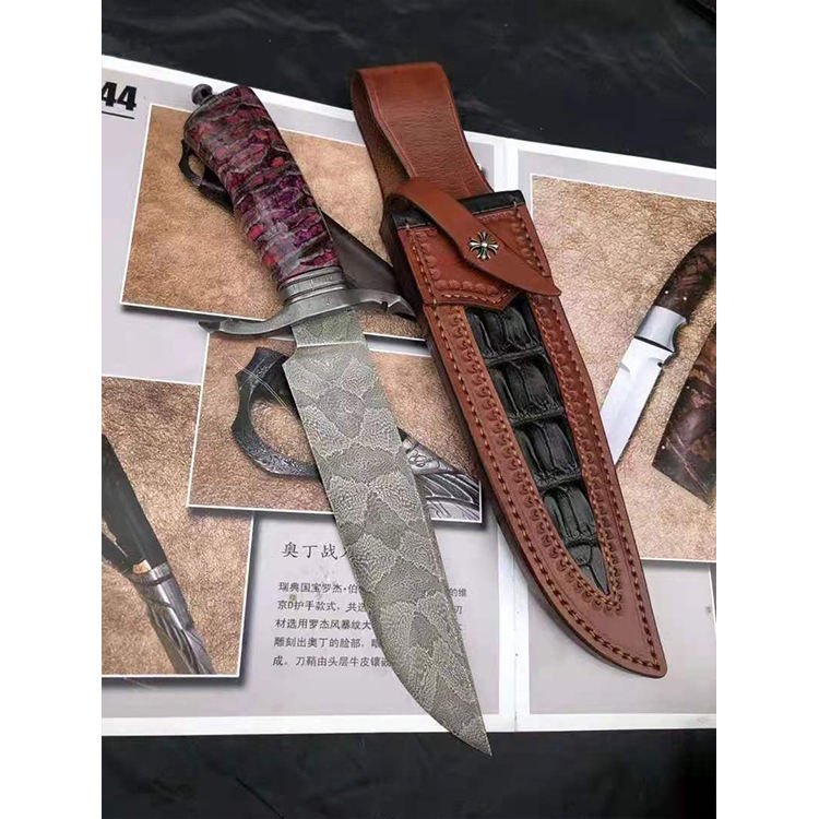 Competitive Price Swedish Steel 60Hrc Hardness Leather Sheath Outdoor Best Camp Cutting Tool Fixed Blade Pocket Knife