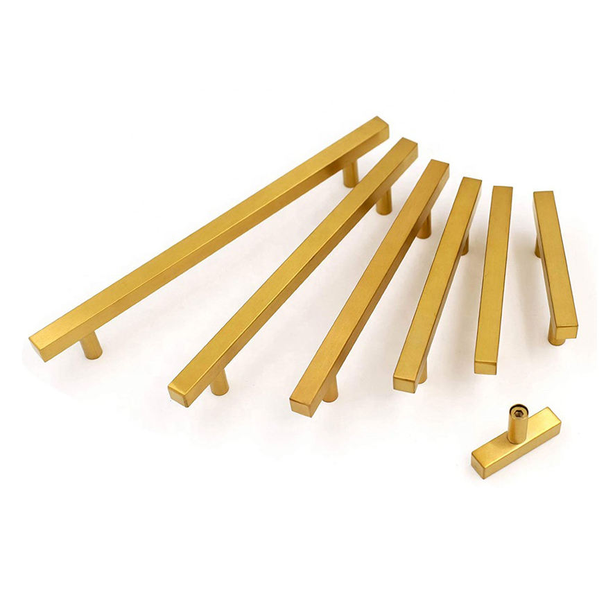 Brush Brass Gold Stainless Steel Cabinet Hardware Furniture Office Cupboard Drawer 96mm Door Pull SS Handle