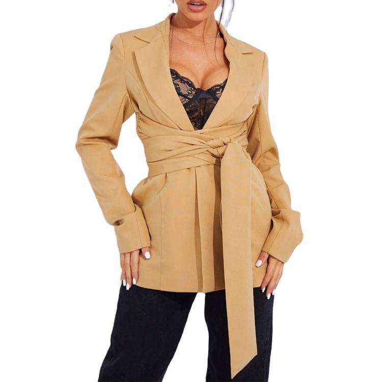 Stylish Camel Lapel Wrap Around Open Front Women Fashion Belted Fitted Blazer Plus Size