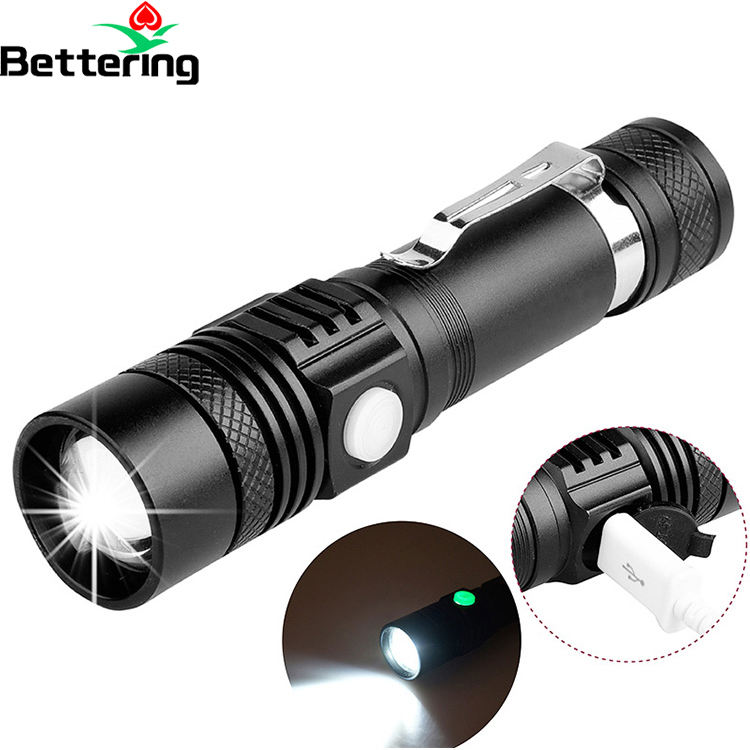 custom logo brands 1000m long range beam rechargeable self defensive led flashlight T6 torch with 5 modes zoomable dimming light