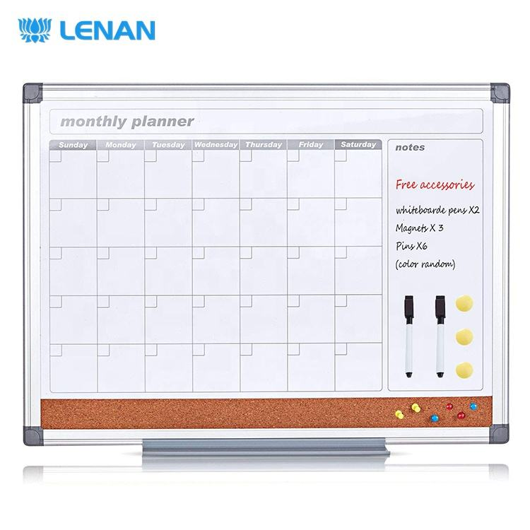 Weekly monthly planner board wall magnetic dry erase personal whiteboard/cork noticeboard calendar memo white board