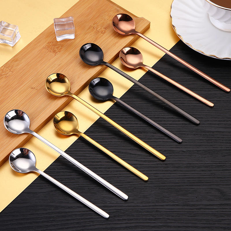 Coffee Dessert Custom Set Small Korean Long Handle Gift Metal Silver Brass Stainless Steel Gold Tea Spoon