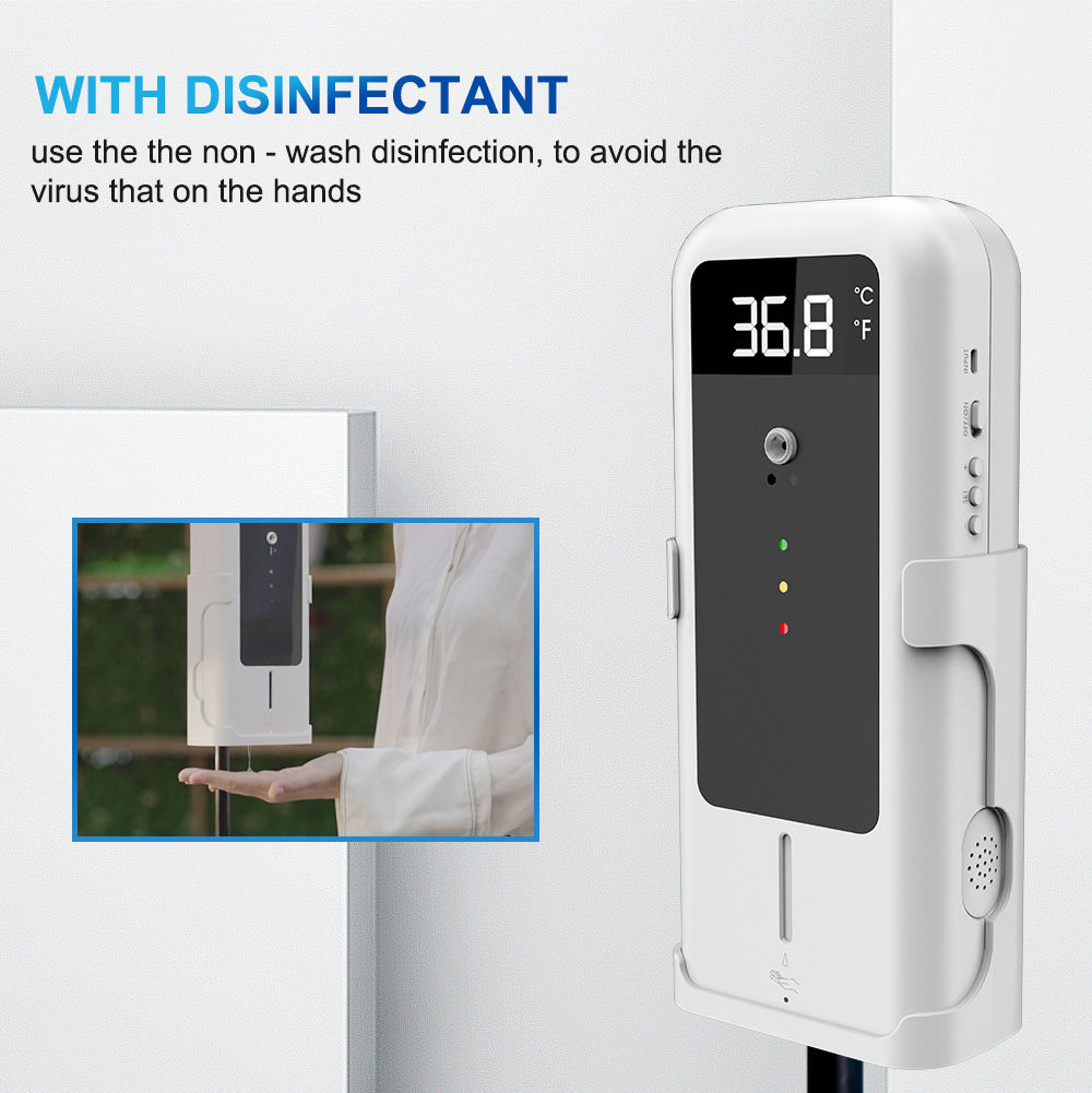 Non-contact hand sanitizer dispenser automatic foam soap gel dispenser with IR temperature scanner