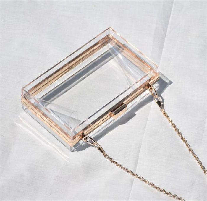 2020 hotselling items trending fashion women transparent shoulder evening bag clear box acrylic clutch purse bag