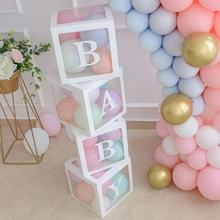 Baby Shower Boxes Party Decorations 4 pcs Transparent Balloons Decor Boxes with Letter Individual BABY Blocks Design Boys Girl