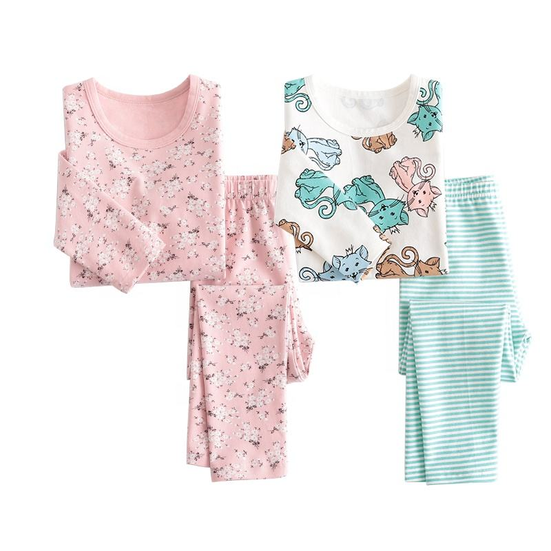 sweet design sleepwear cotton fabric floral print children pajamas set kids pijamas sleepwear kid