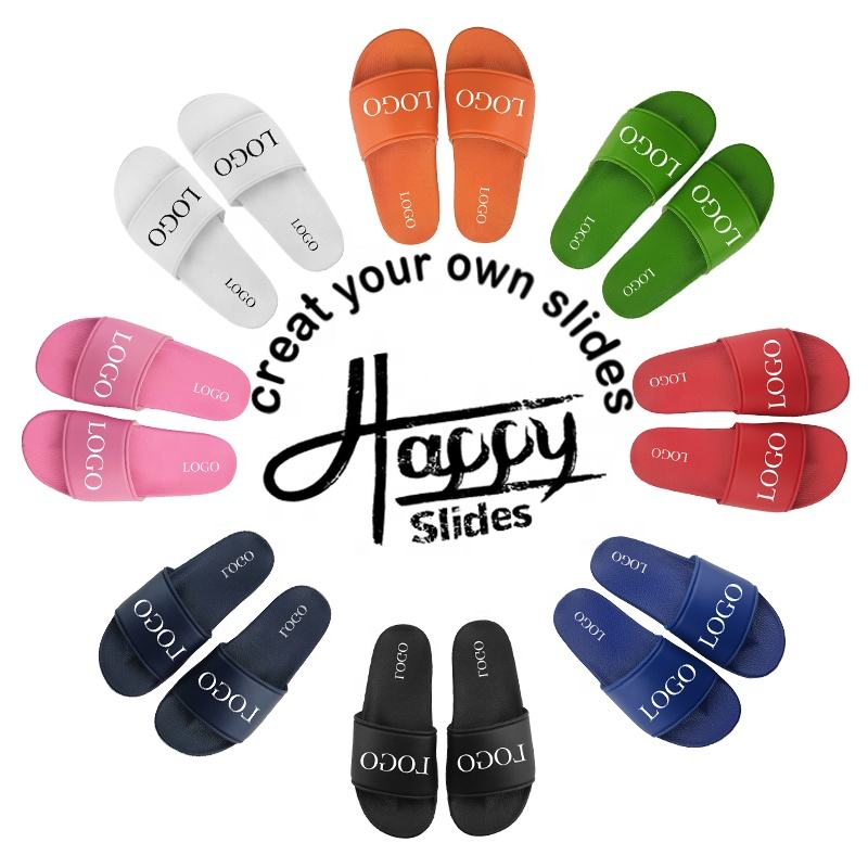 Hellosports Beach Blank Custom Sandals Men Logo,Summer Fashion Custom Logo Sandals Slides
