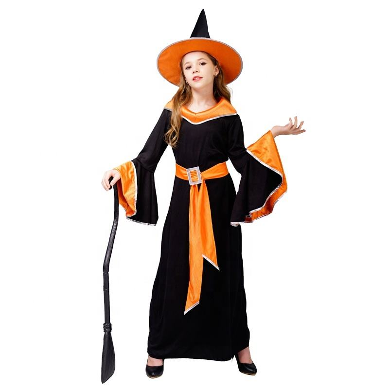 Halloween Carnival Party Costume Beauty Elegant Long Witch Fancy Dress Costumes With Belt