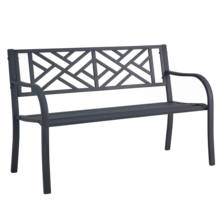 metal steel cast iron public outdoor furniture  long bench park leisure bench garden chair
