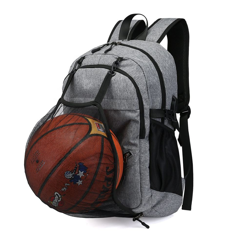 Hiking Travel Day Pack USB Charging Port Laptop Backpack College School Sports Bag With Basketball Net
