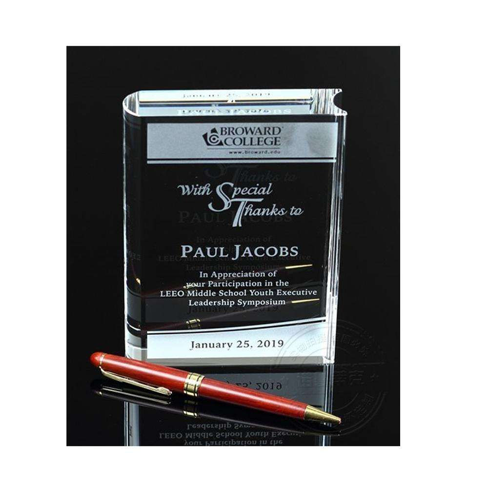 Custom Engraving Logo Crystal Top Grade K9 Glass Book Shape Block Honor Trophy Awards for Teacher Writer