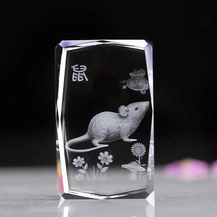 Hot Product Rat Animals Type 3d Laser Engraved Crystal Mouse