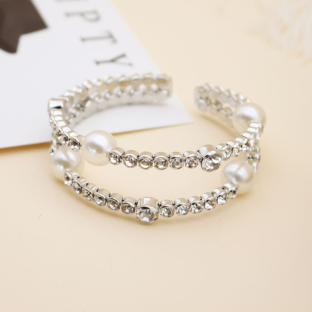 Crystal Pearls Prong Setting Open Women Party Bangles Wedding Bride Bridesmaids Bracelets & Bangles