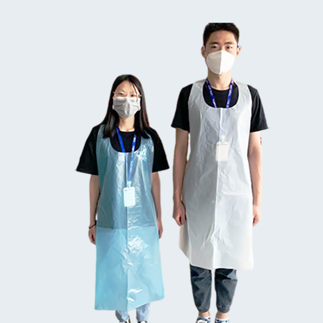 20 micron plastic butcher pe propylene polyethylene water proof customised tall disposable adult kitchen aprons for cooking
