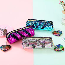Leisure style sequin pencil holder coin bag carry pen case